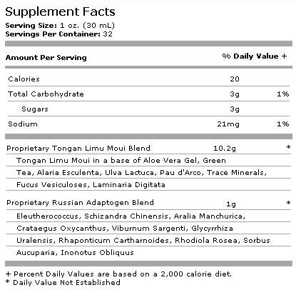 Limu Plus - Supplement Facts - Limu Moui Plus